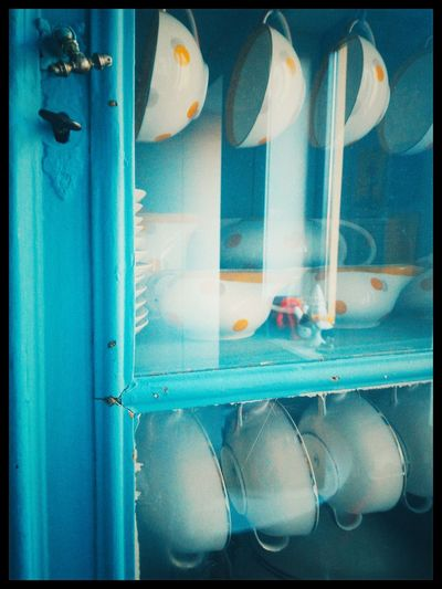 Turquoise Blue Cibachrome E6 Kodak Ektachrome Tea Cups Old Closet Cups Vintage