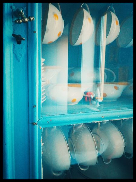 Turquoise Blue Cibachrome E6 Kodak Ektachrome Tea Cups Old Closet Cups Vintage