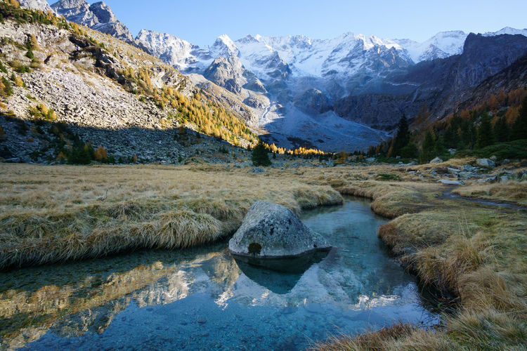 Beauty In Nature Italy Lake Landscape Mountain Mountain Range Mountain View Mountains Nature Outdoors Reflection River Rock Rocks And Water Scenics Sky Snow Snowcapped Mountain Sun And Snow Sunlight Water Water Reflections Water Surface Water_collection