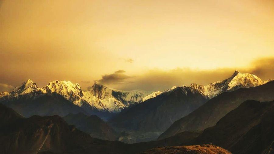 Golden peaks.