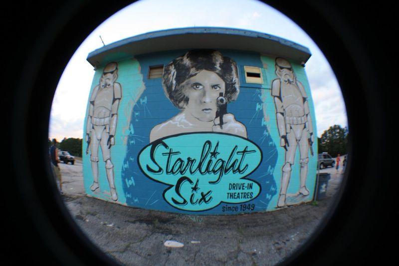 Carrie Fisher Atlanta Ga ATL ATLien Star Wars Mural Art Graffiti Drive In Starlight Six Fish-eye Lens Statue Human Representation Window Close-up Street Art