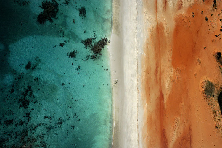 Australia Kimberley Above Abstract Aerial View Beauty In Nature Blue And Orange Day High Angle View Land Meets Sea Natures Patterns No People Outdoors Pattern Pattern In Nature Sand Sea Water
