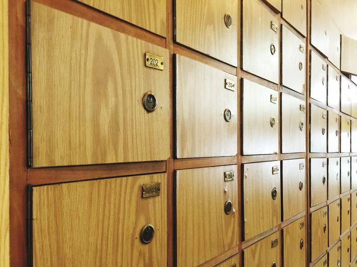 Detail Shot Of Brown Lockers As Background