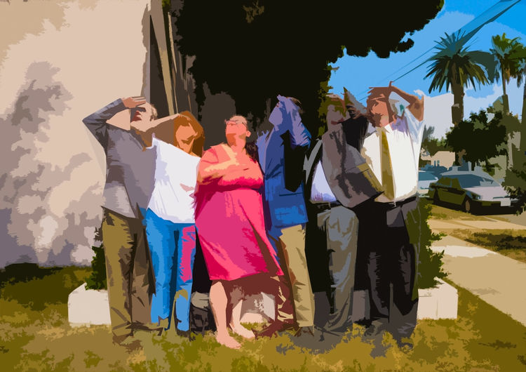 Digital photo illustration of group of people looking up towards the sky Discovering Looking At Camera Mission Non Profit People Watching Towards Sky Discovery Group Hand Shade High Angle View Looking For Donations Looking Up Looking Up😍 Mission Statement Nonprofit Onward Persons Six Six People Team Togetherness Up Up High Upward And Onward Upward View