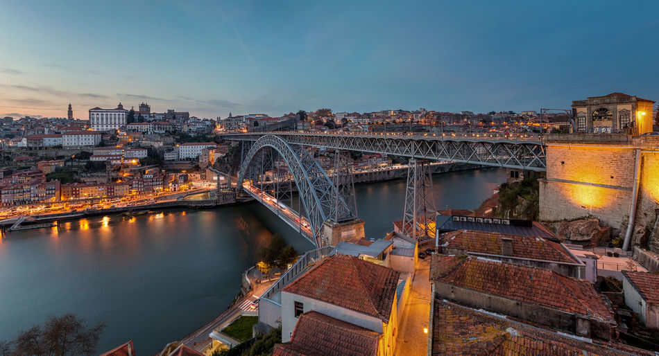 Porto at sunset with Luis I Bridge and Douro River Blue Hour Cityscape Douro  Oporto Porto Portugal Arch Arch Bridge Architecture Bridge Building Building Exterior Built Structure City Cityscape Connection High Angle View No People Outdoors Ribeira River Sky Sunset Transportation Water