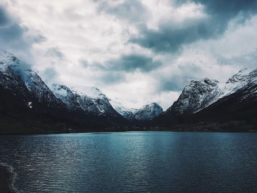 Mountain Nature Scenics Tranquil Scene Outdoors Sky Snowcapped Mountain Beauty In Nature Lake Tranquility Mountain Range Snow Cold Temperature Water No People Waterfront Winter Day Cloud - Sky Iceberg Norway Fjords Of Norway Travel Destinations First Eyeem Photo The Great Outdoors - 2017 EyeEm Awards