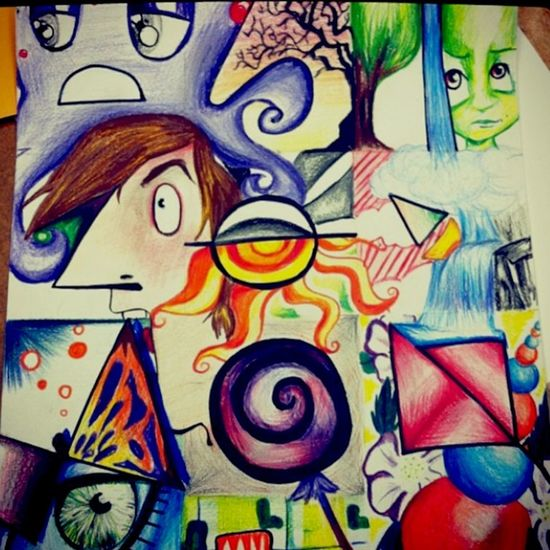 Oldie Foundthis ArtWork Colorpencil Cartoon Imagination Test Hiddenshapes Colorful Art