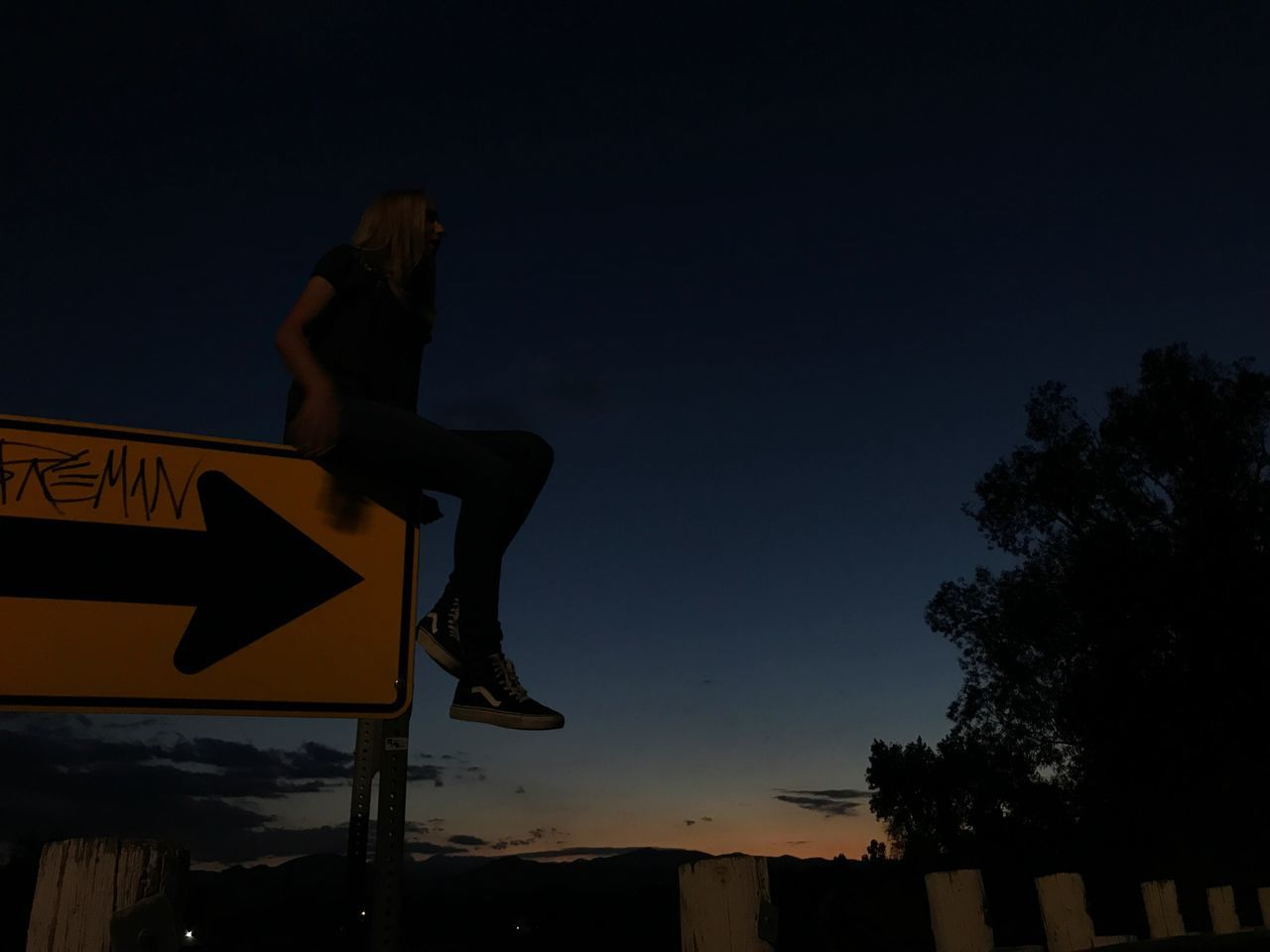communication, road sign, direction, outdoors, low angle view, night, silhouette, clear sky, sky, one person, people