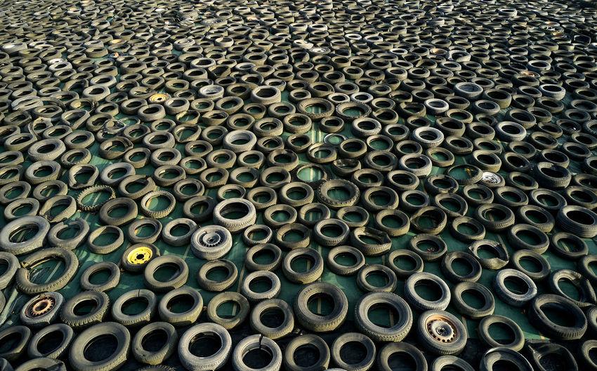 Full frame shot of rubber tires