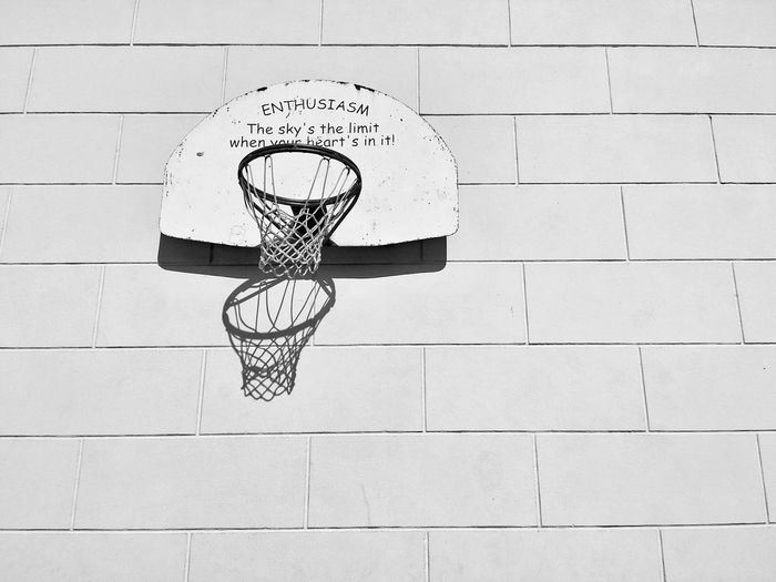 Inspirational Quote Enthusiasm Hoop Dreams Black And White Basketball San Francisco Noe Valley The Sky's The Limit