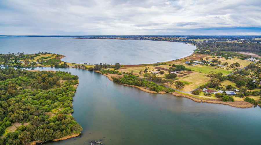 Aerial panoramic view of Jones Bay at Gippsland Lakes Reserve, Victoria, Australia Aerial Shot Australia Australian Landscape Beautiful Drone  Landscape_Collection Panorama Panoramic View Aerial Aerial View Architecture Beauty In Nature Built Structure Cloud - Sky Day Drone Photography Gippsland Gippslandlakes High Angle View Horizon Over Water Jones Bay Landscape Mountain Nature No People Outdoors Scenics Sea Sky Tranquil Scene Tranquility Tree Water Waterfront