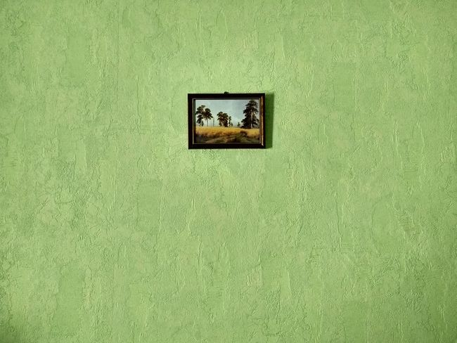 Textured  Architecture Close-up Green Color Built Structure ArtWork Picture Frame Paint Green Wall