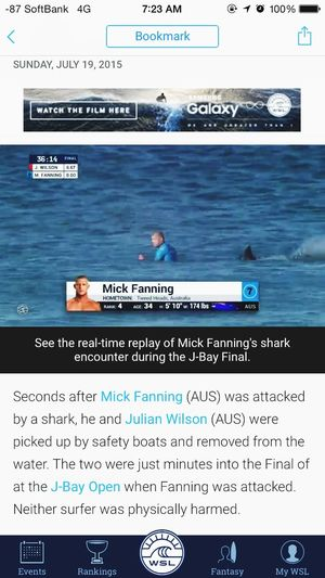 Shark attack at J-Bay in Final round of WSL J-Bay open...... Surfing Wsl J-Bay Mick Fanning Shark Attack ミックつえー サメをフルボッコ