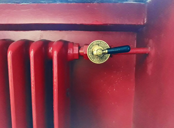 old heater Vintage Old Golden Color Heater Part Heater Red Metal Close-up Historic Retro Analog