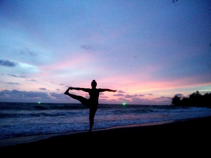Expanding my physical limits through Yoga practice at sunset by the waves to the lull of the breeze. Bai Been Cua Can beach is quiet and not crowded. Secures the solitude you need to remain focussed on your practice immersed in nature. . #pinksky #purpleclouds #yoga #Practice #Flow #breathe #sunset #sun #clouds #skylovers #skyporn #sky #beautiful #sunset #clouds And Sky #beach #sun _collection #sunst And Clouds #seaside #quite Sea #Solitude #crowdfree #PhuQuoc Island #asia #travelphotography #solotraveler #she #woman #power Summer Sports Water Full Length Sunset Beach Sea Standing Silhouette Star - Space Galaxy Women