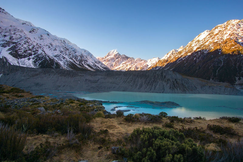 Glacier lake with Mount Cook in the background Mountain Scenics - Nature Beauty In Nature Sky Tranquil Scene Tranquility Cold Temperature Winter Water Nature Non-urban Scene Snow Mountain Range No People Environment Landscape Plant Snowcapped Mountain Lake Mountain Peak Formation