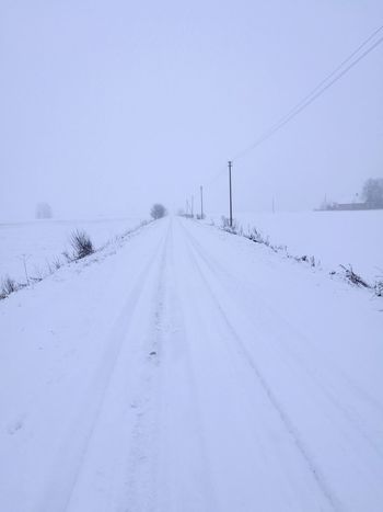 White Road Snow Winter Cold Temperature Weather The Way Forward Beauty In Nature Travel