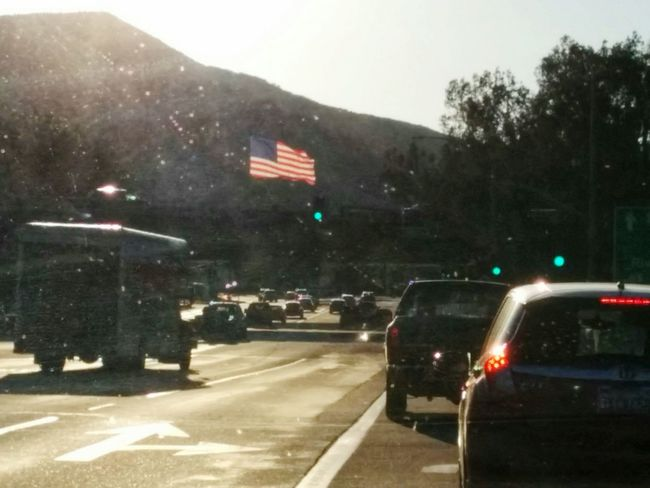 on this flag day in socal Taking Photos Respect For The Good Taste Getting Inspired Capturing Movement EyeEm Gallery In A Car SoCal AndroidPhotography American Flag On The Road