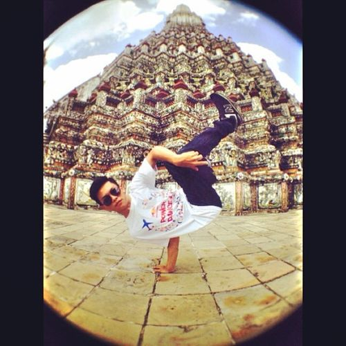Love this photo Me BBOY Airchair Freeze kratingdaeng powerdance trip watarun thailand fisheye throwback