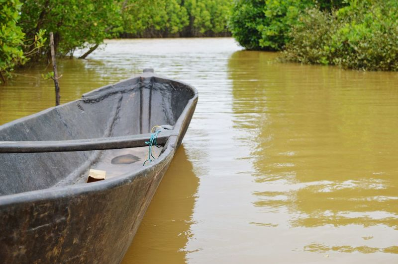 Close-up of boat in river