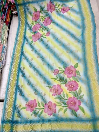 Spray Paint And Hand Painted Silk Stole Dupatta Banarsi Indian Wear Multi Colored Variation Close-up Fabric Cloth Clothes Floral Pattern Textile Textile Industry Material Clothesline Embroidery