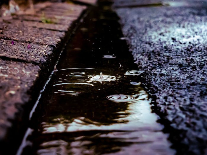 High angle view of wet footpath in puddle