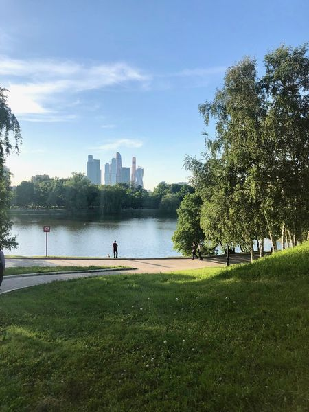 City Moscow Moscow City Novodevichy Ponds Architecture Beauty In Nature Building Exterior Built Structure City Fisherman Grass Green Color Moscow Life Nature Outdoors Park Park - Man Made Space Skyscraper Water