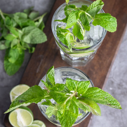 Close-up Cocktail Drink Drinking Glass Food Food And Drink Freshness Fruit Glass Green Color Healthy Eating Herb Household Equipment Leaf Leaves Mint Leaf - Culinary Mojito No People Plant Part Refreshment Still Life Table