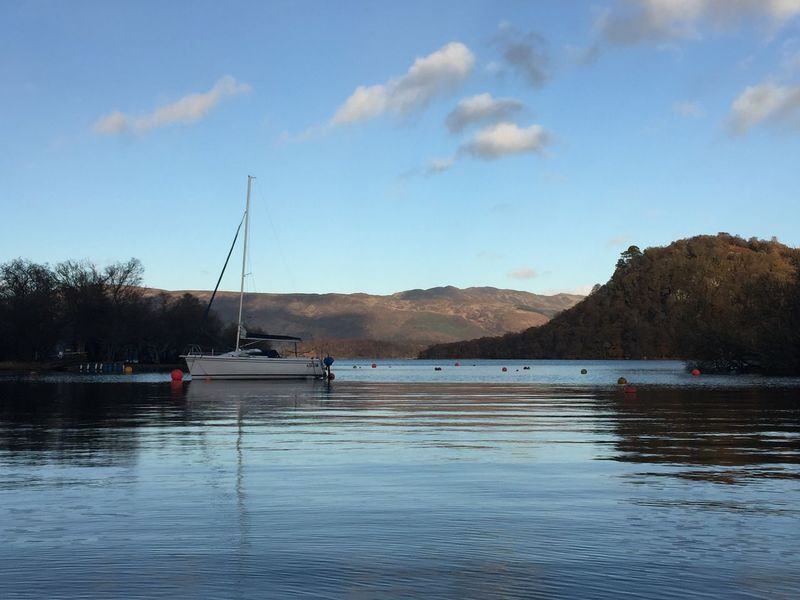 LochLomond Nature On Your Doorstep Nice View Sky And Clouds Today In Scotland Waterscape Beauty In Nature Blue Day No People One Boat Outdoors Scenics Sky Tranquil Scene Water Waterfront