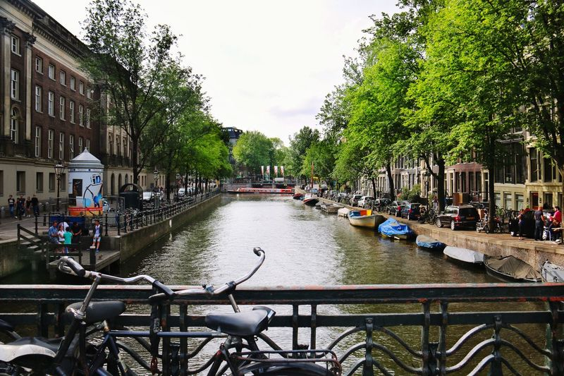 Amsterdam Canal Amsterdam Grachten Niederlande Netherlands Water Boats Bikes Trees And Sky Fahrräder Grün Hanging Out Taking Photos Enjoying Life City Life Cityscapes Idyllic Scenery Natural Beauty