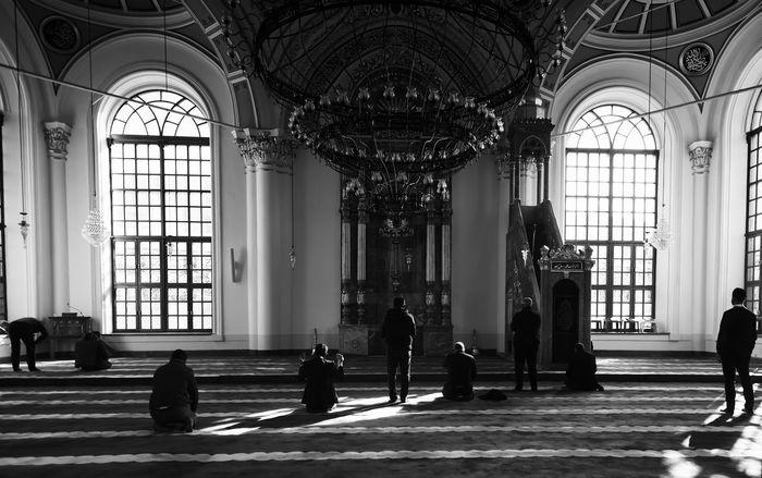 Prayer Time Aziziye Mosque Ottoman Ottoman Architecture Turkey Architectural Feature Architecture Aziziyecamii Camii Faithful Kneeling Down Konya Men Mosque Place Of Worship Praying Religion Sitting Tranquil Scene