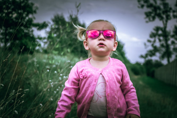 Poland Girl Tree Photography Photooftheday EyeEm Close-up Pink Color Glasses EyeEmNewHere Pink Color One Girl Only Outdoors Day Child Children Only Grass Nature Sky Blond Hair One Person