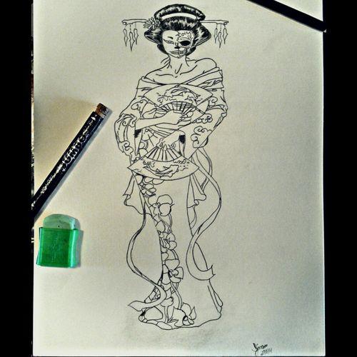 Skull geisha Sketch Art Drawning Geisha Skull