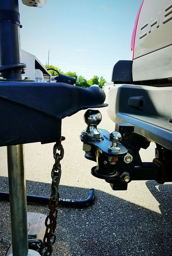 hitch lined up to attach trailer Truck Camper Rv Chains Safety Hitch Ball Tow Ball Hitched Up Hitch Trailers Trailer Hitch Trailer Weight Distribution Close-up Vehicle Land Vehicle
