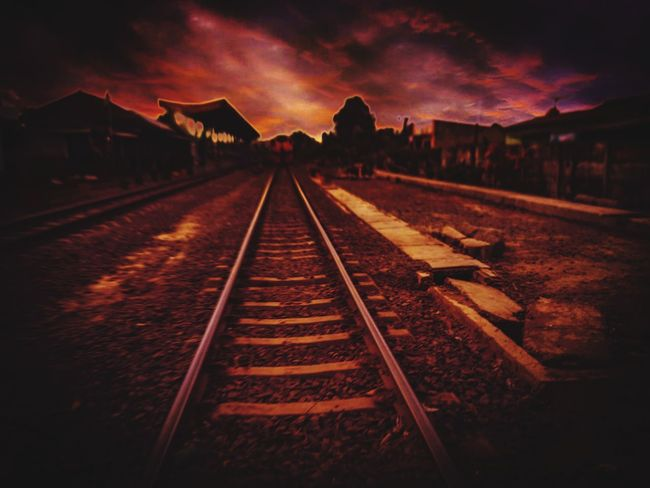dark red Dark Railroad Track Rail Transportation Transportation No People Outdoors Night Sky