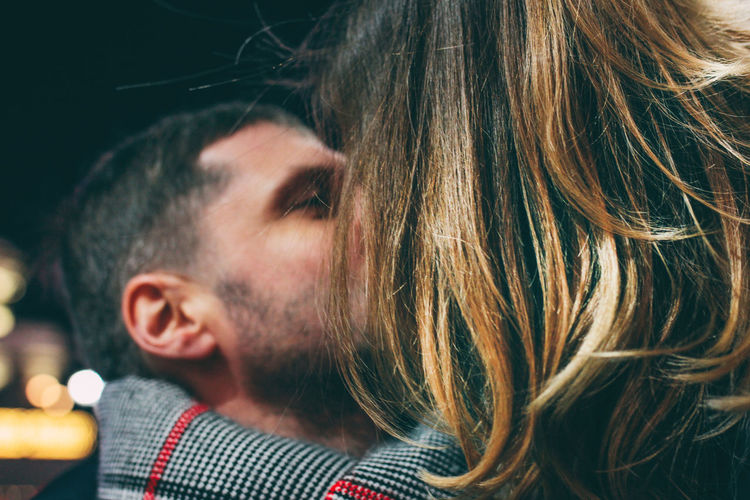 Real couple in love, winter romance in the city Headshot Portrait Real People Hair One Person Lifestyles Leisure Activity Hairstyle Women Long Hair Adult Close-up Young Adult Looking Emotion Indoors  Looking Away Side View Human Hair Mouth Open