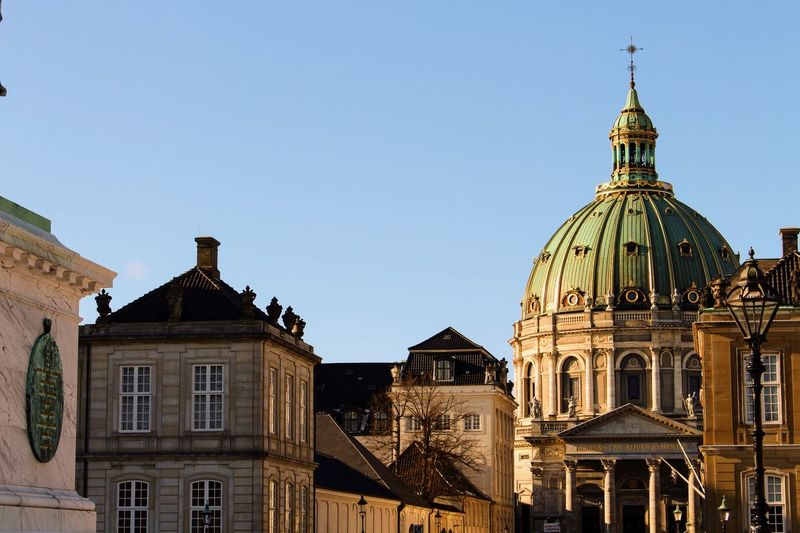 Low angle view of frederik church against clear sky