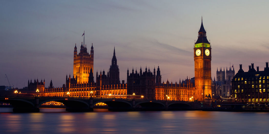 Big Ben London Palace Of Westminster Architecture City Cityscape Clock Tower Government Illuminated Metropolis Night Outdoors River Sunset Themse Tower Travel Destinations Urban Water Waterfront