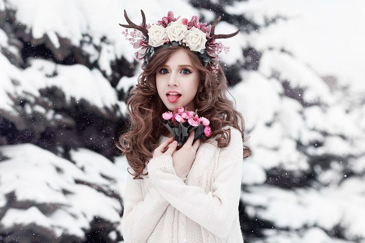 http://photographergerb.jimdo.com/ Childhood Cold Temperature Day Elementary Age Flower Focus On Foreground Fur Girls Human Face Innocence Knit Hat Leisure Activity Lifestyles Looking At Camera Nature Outdoors Person Pink Color Portrait Season  Snow Tradition Weather Winter Young Adult