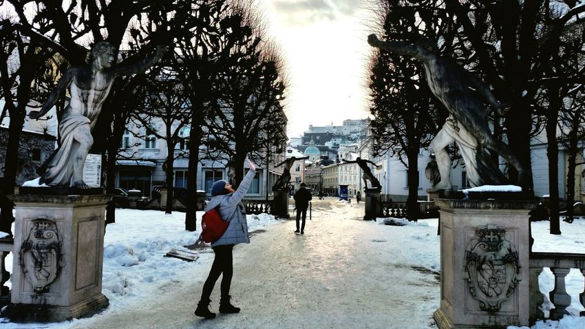 Travel Austria February Salzburg City Snow Give Me Five Statues Wintertime Happiness ♡ Friends Ligth And Shadows Ice