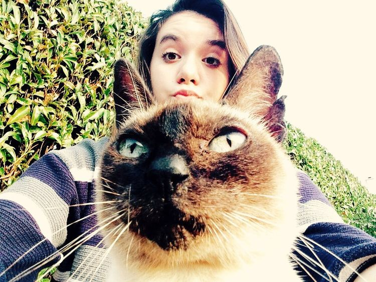 With a lovely cat
