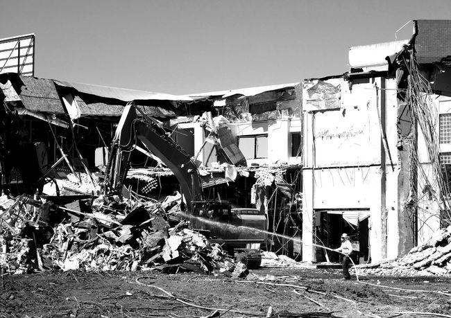 Demolition Zone Demolition Construction Worker Hosepipe Hose Water Jet Monochrome Black And White Blackandwhite Demolition Zone