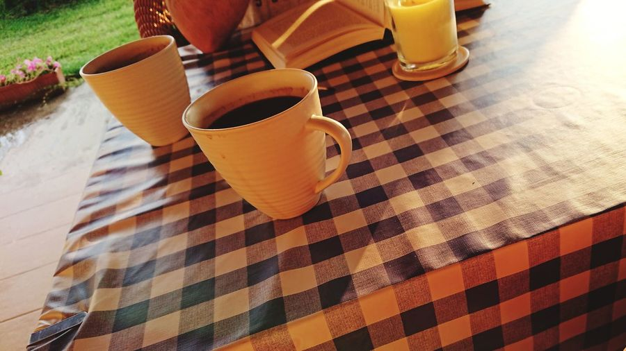 Drinks Coffee Sunrise Relaxing Drink Drinking Glass Table High Angle View Beverage Tablecloth Checked Pattern Checked