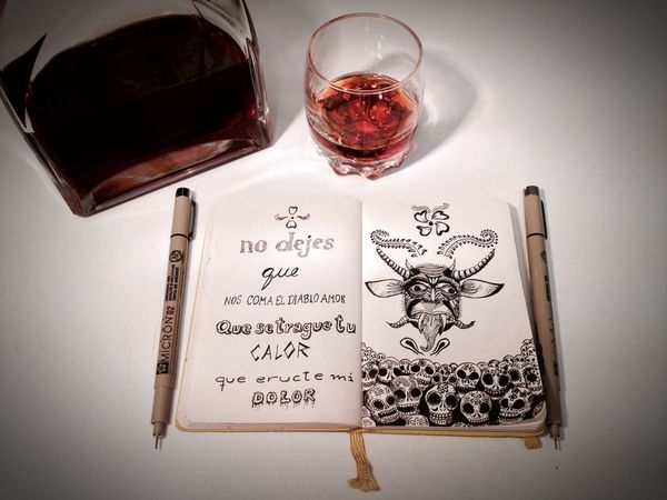 No dejes que nos coma el diablo amor... Mexico Santamuerte Caifanes Rock Sketch Moleskine