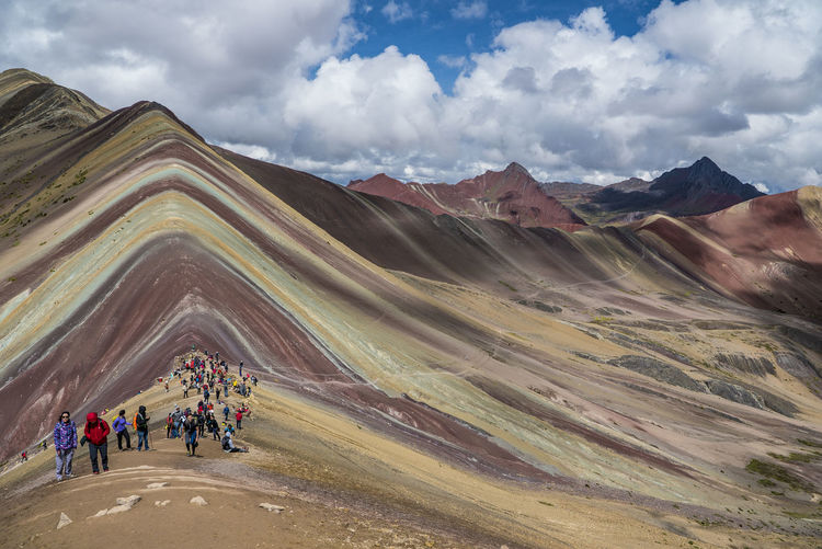 7 Colour Hiking Nature Peru Rainbow Mountain Rainbow Mountain Peru, Adventure Beauty In Nature Cloud - Sky Day Environment Landscape Landscapes Leisure Activity Lifestyles Mountain Mountain Range Nature Non-urban Scene Outdoors Scenics - Nature Sky Travel