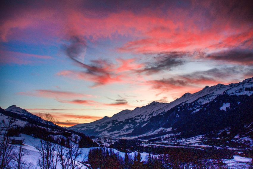 Snow Mountain Sunset Winter Beauty In Nature Nature Scenics Cold Temperature Dramatic Sky Landscape No People Tranquil Scene Sky Cloud - Sky Tranquility Outdoors Mountain Range Tree Kandertal