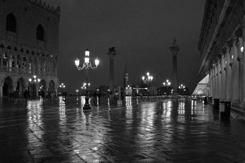Illuminated piazza san marco at night