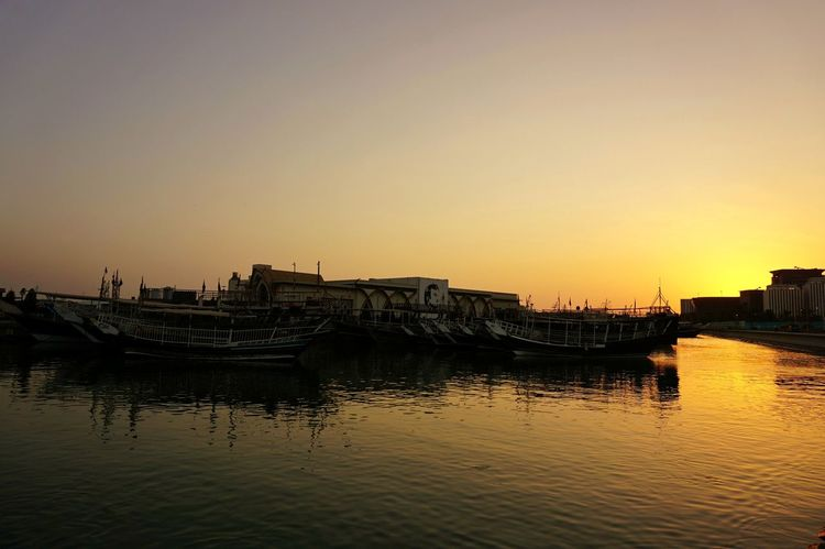 Eyeem Philippines A6000photography A6000 Sony A6000 Sony Alpha Doha,Qatar Doha Corniche Qatar Eyeem Instagram Eyeem Photography Sunrise Silhouette Water Architecture Nautical Vessel Built Structure Reflection Nature Cityscape Sky Sea Outdoors No People Day
