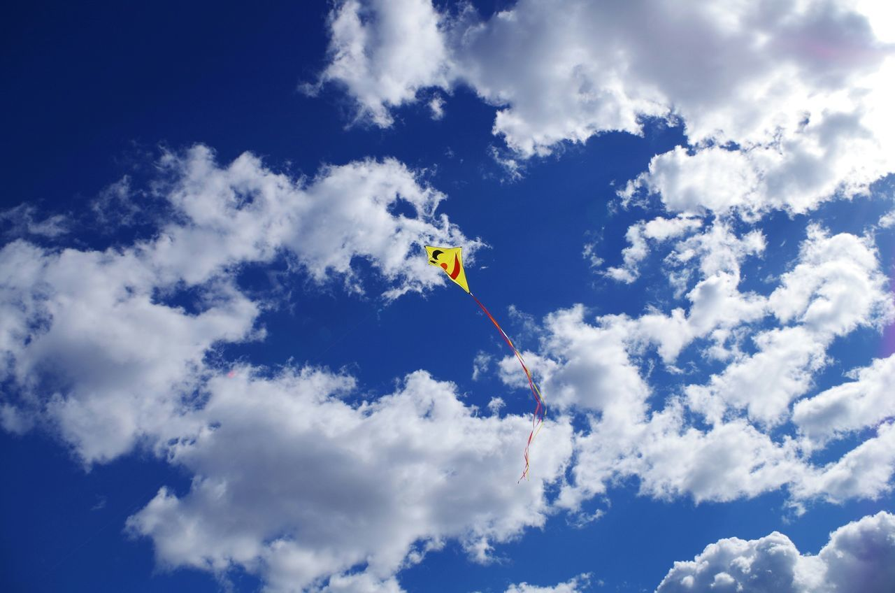 Kite flying in cloudy sky