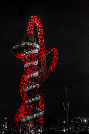 ArcelorMittal Orbit Night Illuminated Red Arts Culture And Entertainment Sky No People Celebration Creativity Event Nature Art And Craft Metal Decoration Outdoors Pattern Amusement Park Holiday Christmas Copy Space Festival Nightlife Arcelormittal ArcelorMittal Orbit London Tower